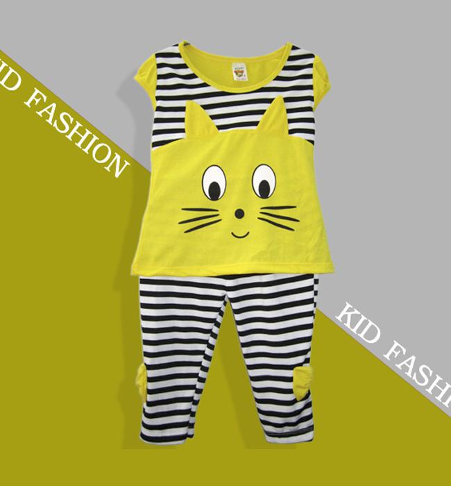 Bộ Đồ Thun Hình Mèo Cho Bé Màu Vàng