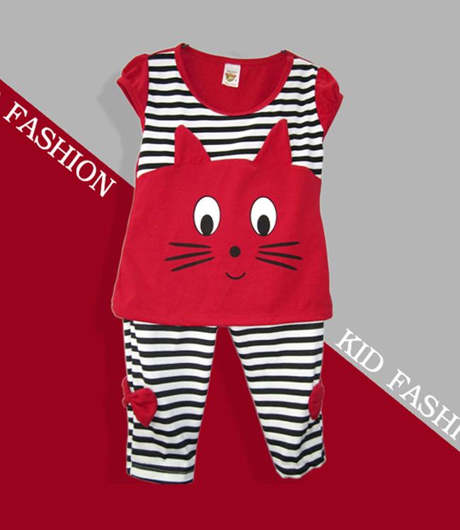 Bộ Đồ Thun Hình Mèo Cho Bé Màu Đỏ