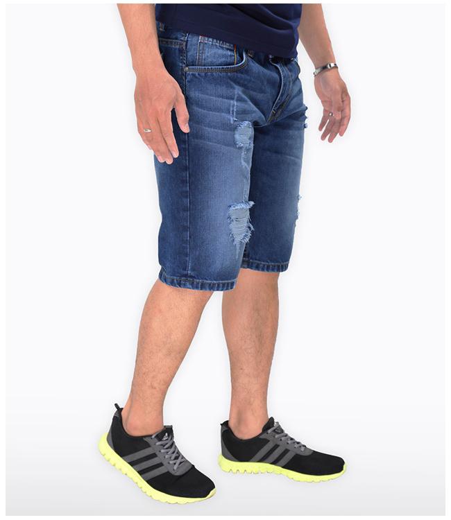 Quần Short Jean Nam Xước Gối Chất liệu jean cao cấp, bền đẹp. Thiết kế dạng lửng, phối rách nhẹ phía trước quần, dễ dàng kết hợp cùng nhiều trang phục khác nhau để mang tới một phong cách thời trang cá tính riêng