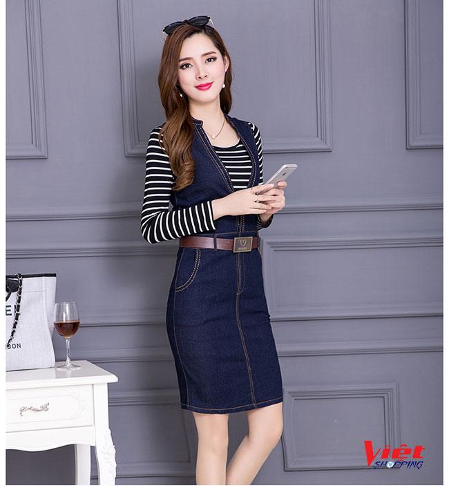 Set Đầm Jeans + Áo sọc Hàn Quốc, set đầm, đầm dự tiệc dam du tiec, đầm jeans, thời trang nữ, thoi trang nu, sieu thi thoi trang, siêu thị thời trang