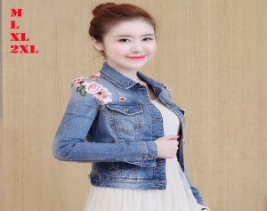 Áo Khoác Jean Nữ Thêu Hoa -AK060818