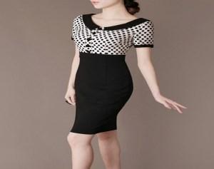 Đầm Công Sở Chấm Bi Rita