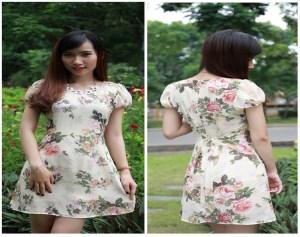 Đầm tơ gân họa tiết Hoa nơ eo