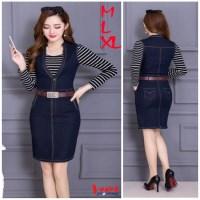 Set Đầm Jeans + Áo sọc Hàn Quốc